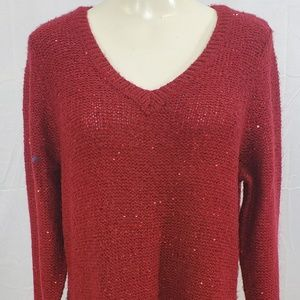 Apt 9 Sweater size 1X V-Neck Red Sequins